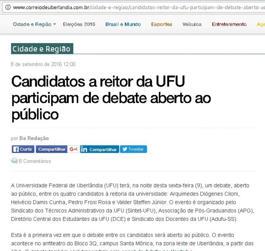 Candidatos a reitor da UFU participam de debate aberto ao público