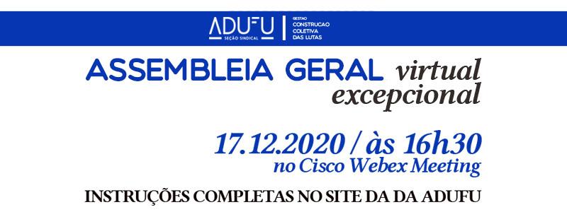 Assembleia Geral Virtual Excepcional Da ADUFU-SS