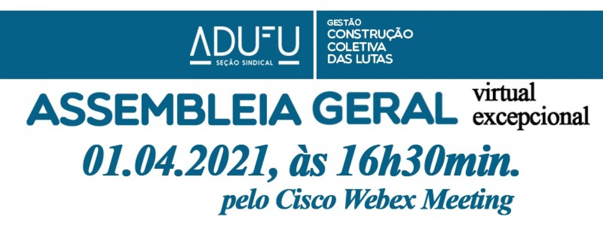 Confira informações sobre a Assembleia Geral da ADUFU de 1 de abril