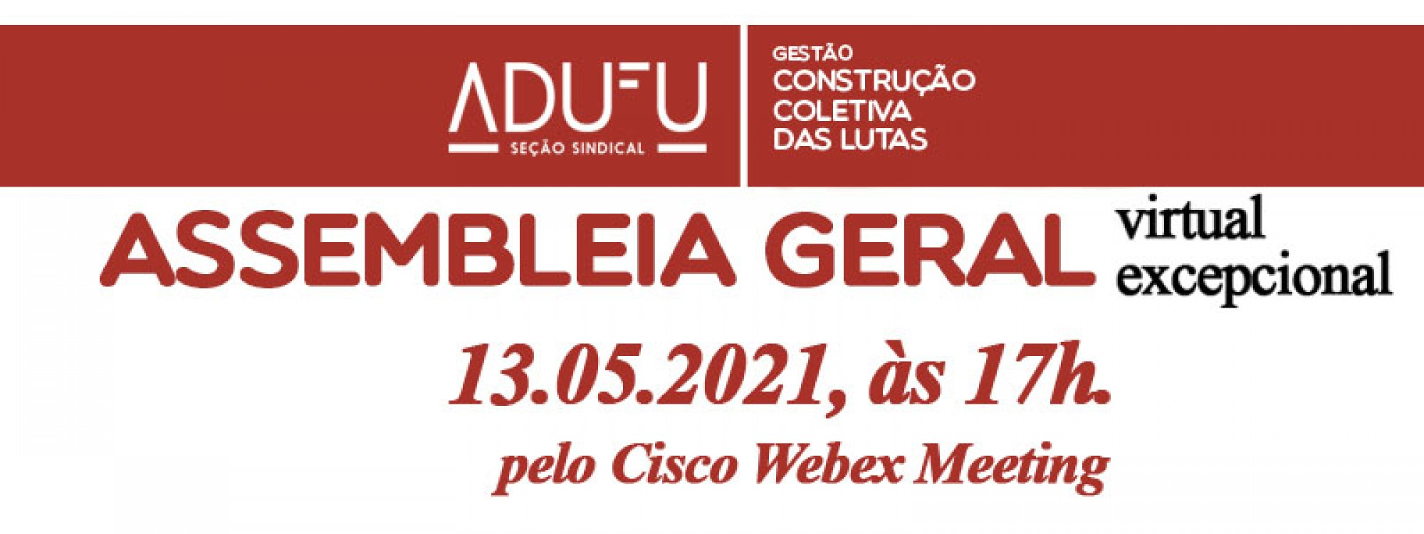 Assembleia Geral da ADUFU será realizada no dia 13 de maio